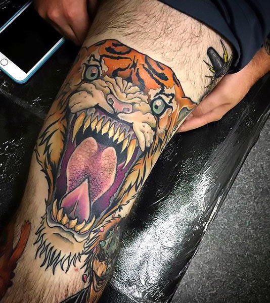 Tiger on Thigh for Guy Tattoo Idea