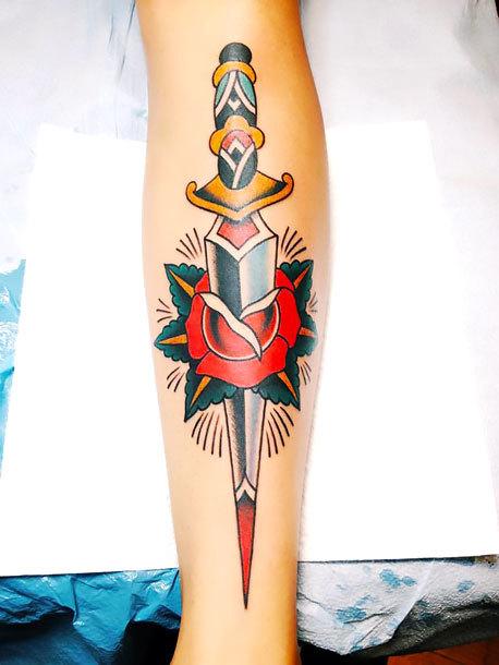 Traditional Dagger on Shin Tattoo Idea