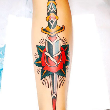 Traditional Dagger on Shin Tattoo