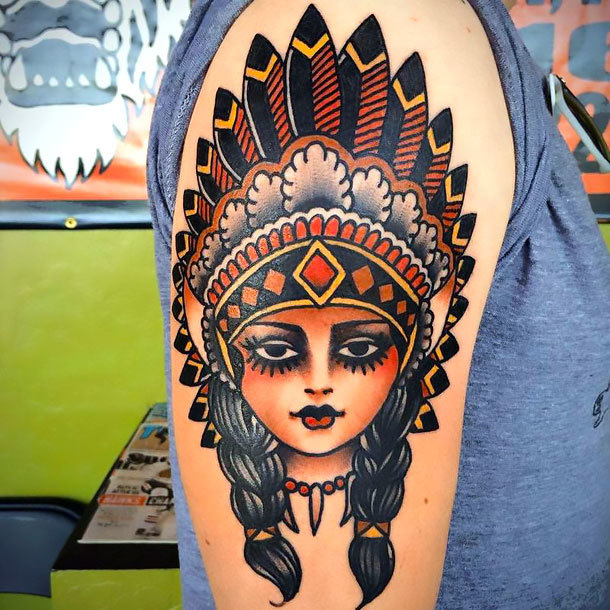 Traditional Girl Tattoo Idea