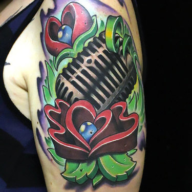 Traditional Microphone on Shoulder Tattoo