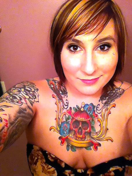 Traditional Skull In Birdcage Tattoo Idea