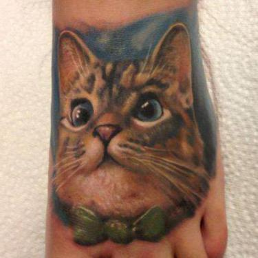 Cool Cat on Foot Tattoo