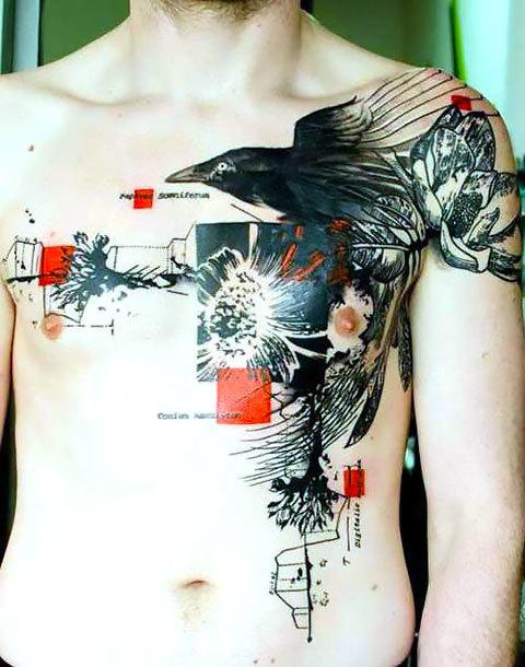 Trash Polka Crow Tattoo Idea