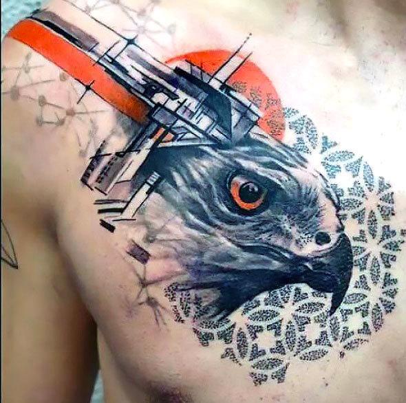 Trash Polka Hawk Tattoo Idea