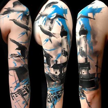 Trash Polka Lighthouse Tattoo
