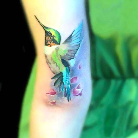 Awesome Hummingbird on Arm Tattoo Idea