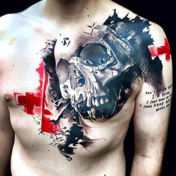Trash Polka Skull Tattoo Idea