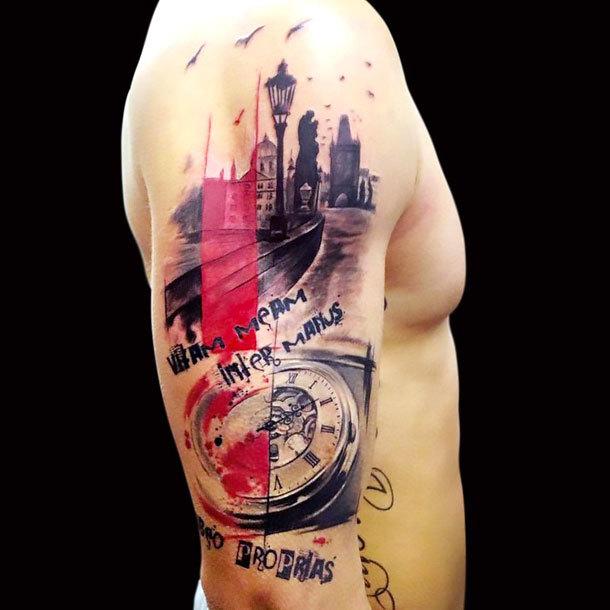 Trash Polka Tattoo on Arm Tattoo Idea