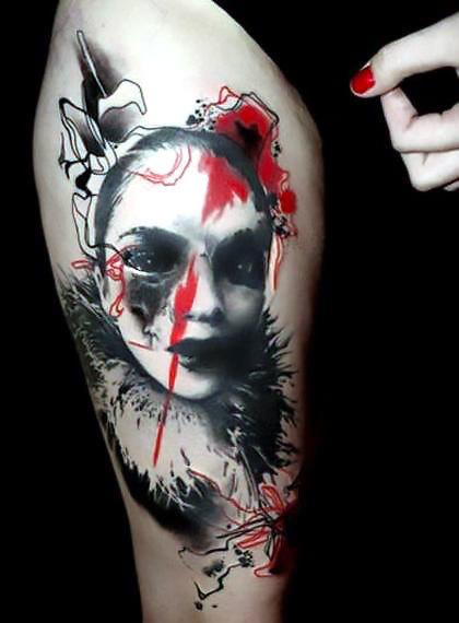 Trash Polka Tattoo on Thigh Tattoo Idea