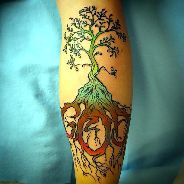 Tree on Calf Tattoo Idea