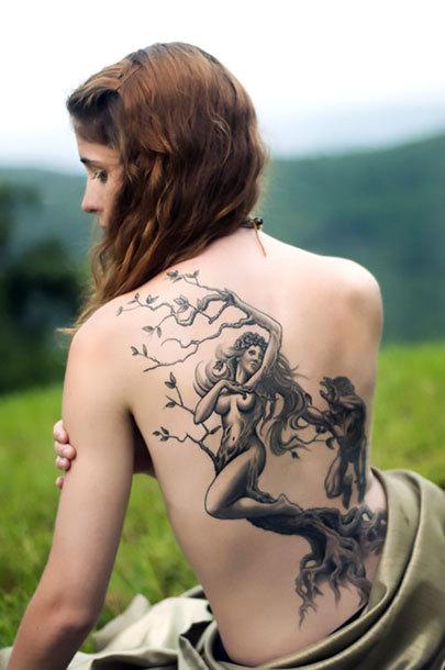 Tree Woman on Back Tattoo Idea