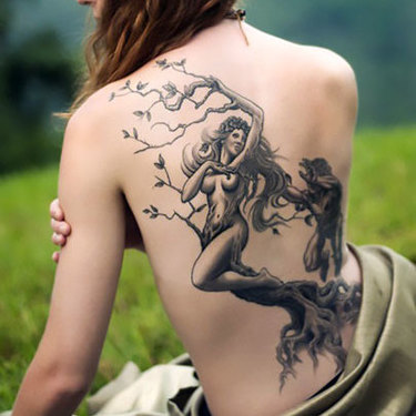 Tree Woman on Back Tattoo