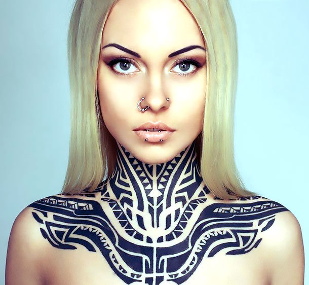 Tribal Neck for Women Tattoo Idea