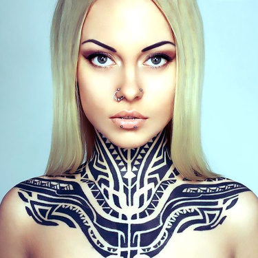 Tribal Neck for Women Tattoo