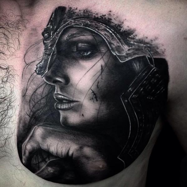 Girl Warrior Black and Gray Tattoo Idea