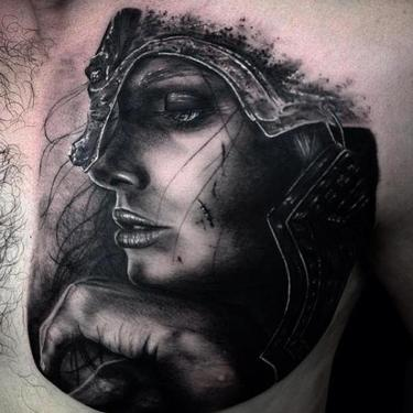 Girl Warrior Black and Gray Tattoo