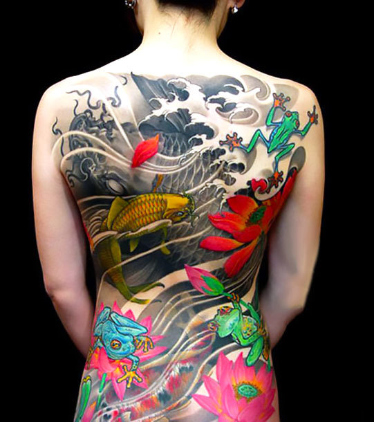 Oriental Tattoo on Full Back Tattoo Idea