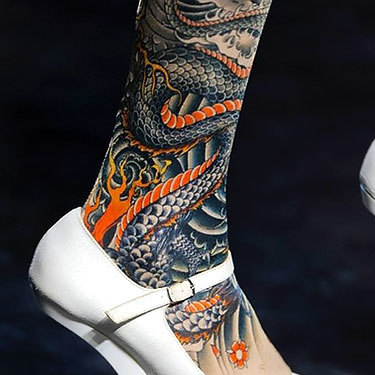 Oriental Tattoo on Leg Tattoo