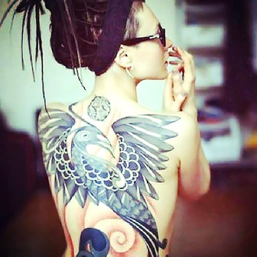 Original Bird on Back Tattoo