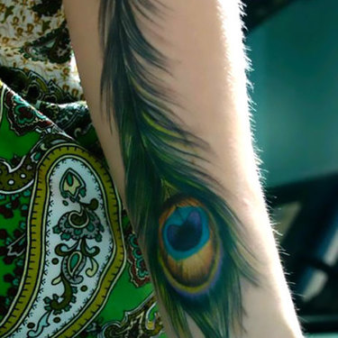 Realistic Peacock Feather Tattoo