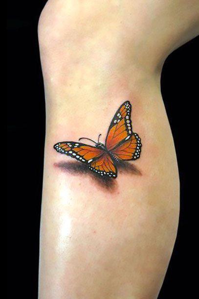 3D Monarch Butterfly Tattoo Idea