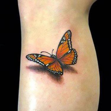 3D Monarch Butterfly Tattoo