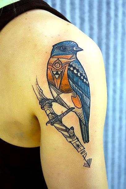 Ornate Bluebird Tattoo Idea