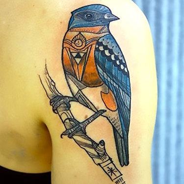 Ornate Bluebird Tattoo