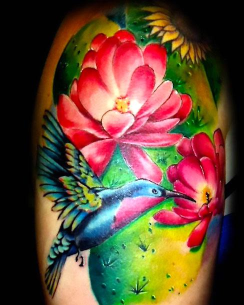 Awesome Hummingbird Tattoo On Shoulder Tattoo Idea