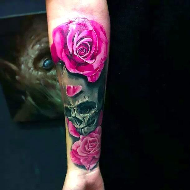 Realistic Pink Rose Tattoo Idea