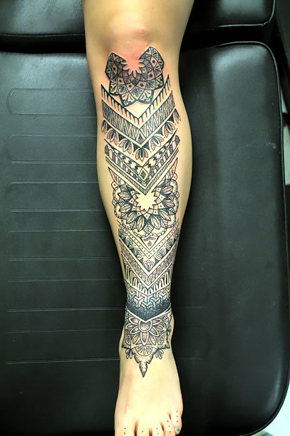 Ornate on Shin for Women Tattoo Idea