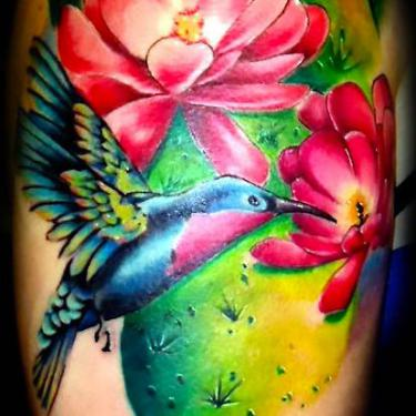 Awesome Hummingbird Tattoo On Shoulder Tattoo