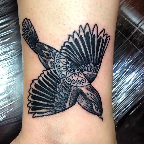 Ornate Sparrow Tattoo Idea