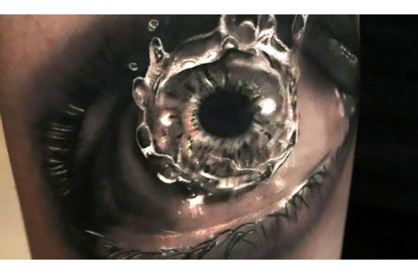 Realistic Water In Eye Tattoo Idea