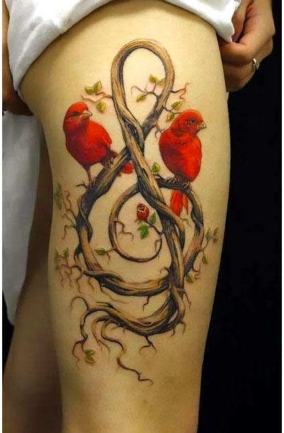 Red Birds on Treble Clef Tattoo Idea