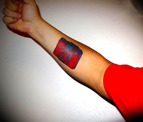 Red Camera Tattoo Idea