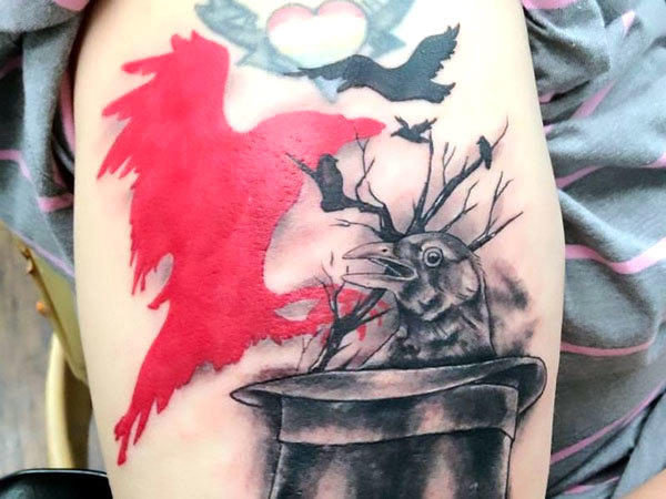 Red Crow Tattoo Idea