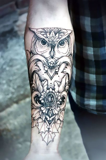 Owl on Forearm For Women Tattoo Idea