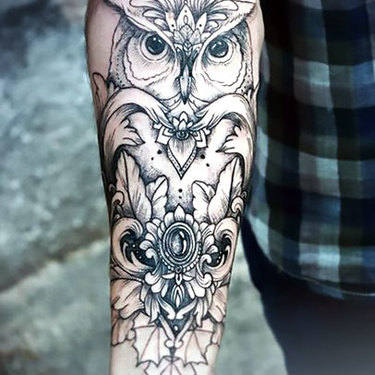 Owl on Forearm For Women Tattoo