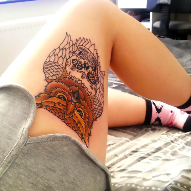 Owl on Outer Thigh Tattoo Idea