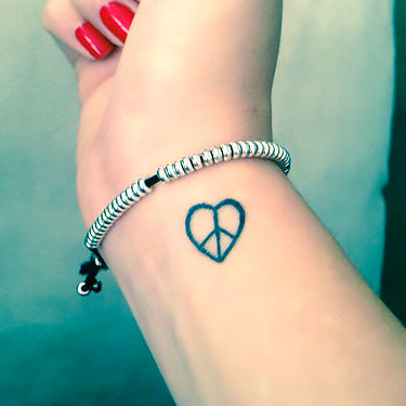 Peace Heart on Wrist Tattoo