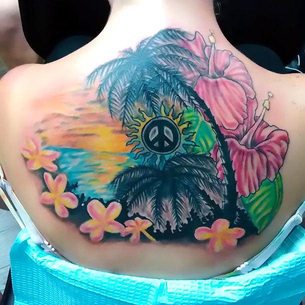 Peace on Upper Back Tattoo Idea