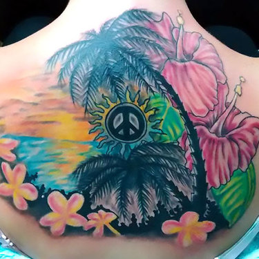 Peace on Upper Back Tattoo