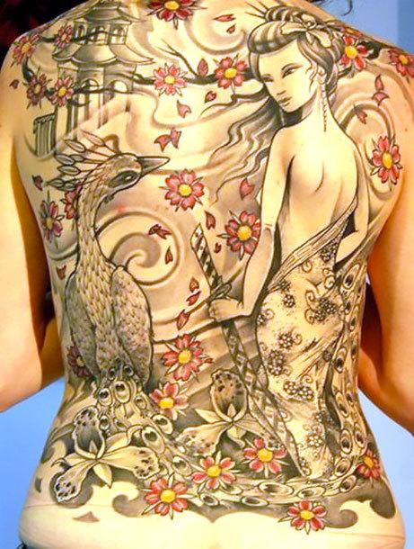 Peacock and Japanese Girl Tattoo Idea