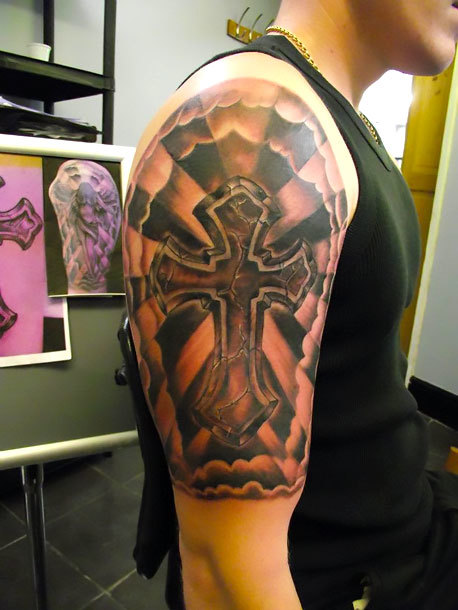 Religious Cross Half Sleeve Tattoo Idea