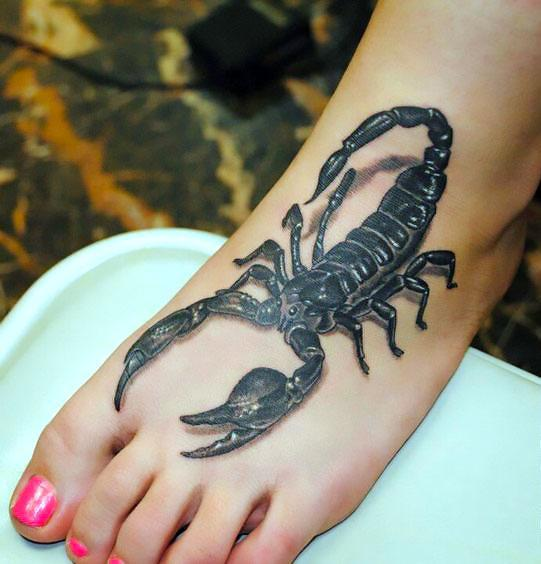 3D Scorpion on Foot Tattoo Idea