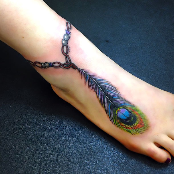Peacock Feather on Ankle Tattoo Idea