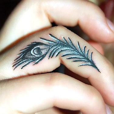 Peacock Feather on Finger Tattoo