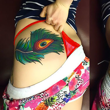 Peacock Feather on Hip Tattoo